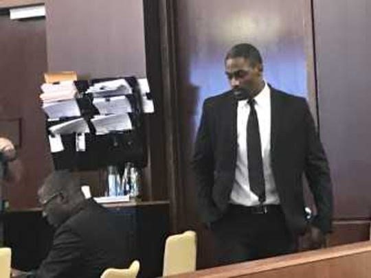 Kiereek Seymour, 29 of East Naples, walks to his seat inside the Collier County Courthouse on Feb. 21, 2019.