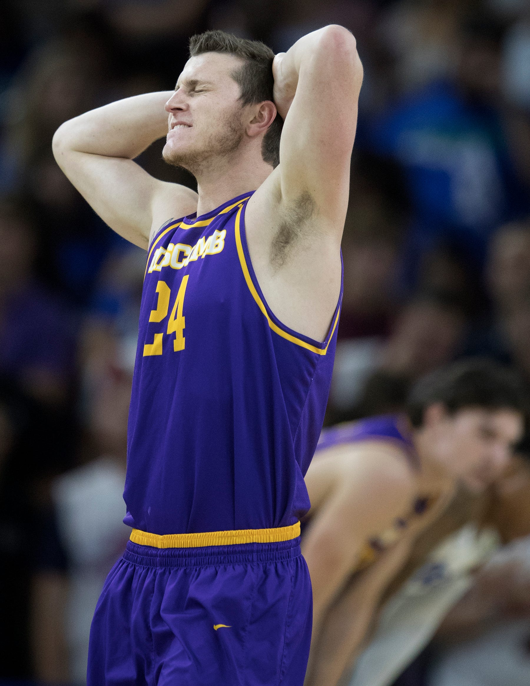 Lipscomb's Garrison Mathews reacts to fouling a FGCU player on Wednesday at FGCU in Fort Myers. FGCU beat Lipscomb 67-61.