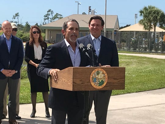 New South Florida Water Management District board appointee Charlie Martinez speaks following Gov. Ron DeSantis' announcement at North Collier Regional Park on Thursday, Feb. 21, 2019.
