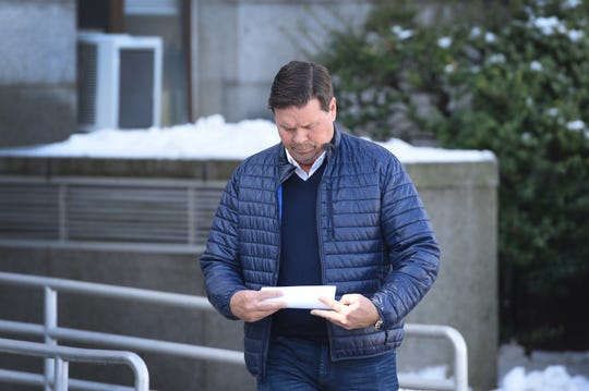 Marty Caffrey of RHONJ who is finalized his high-profile divorce from his wife Danielle Staub, leaves from Bergen County Superior Court following his divorce hearing in Hackensack on 02/21/19.