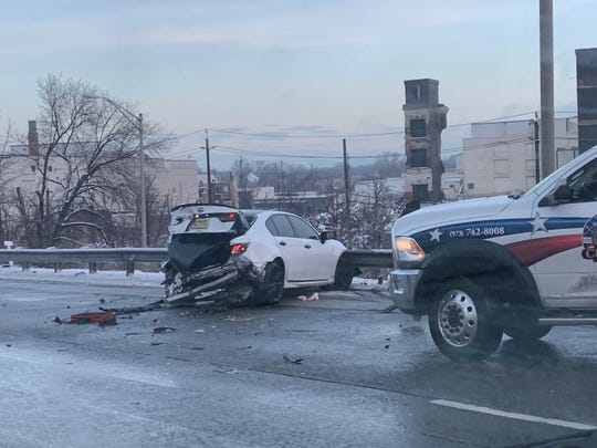 A crash involving two Lexsuses is causing heavy delays on Route 80 westbound near Elmwood Park.