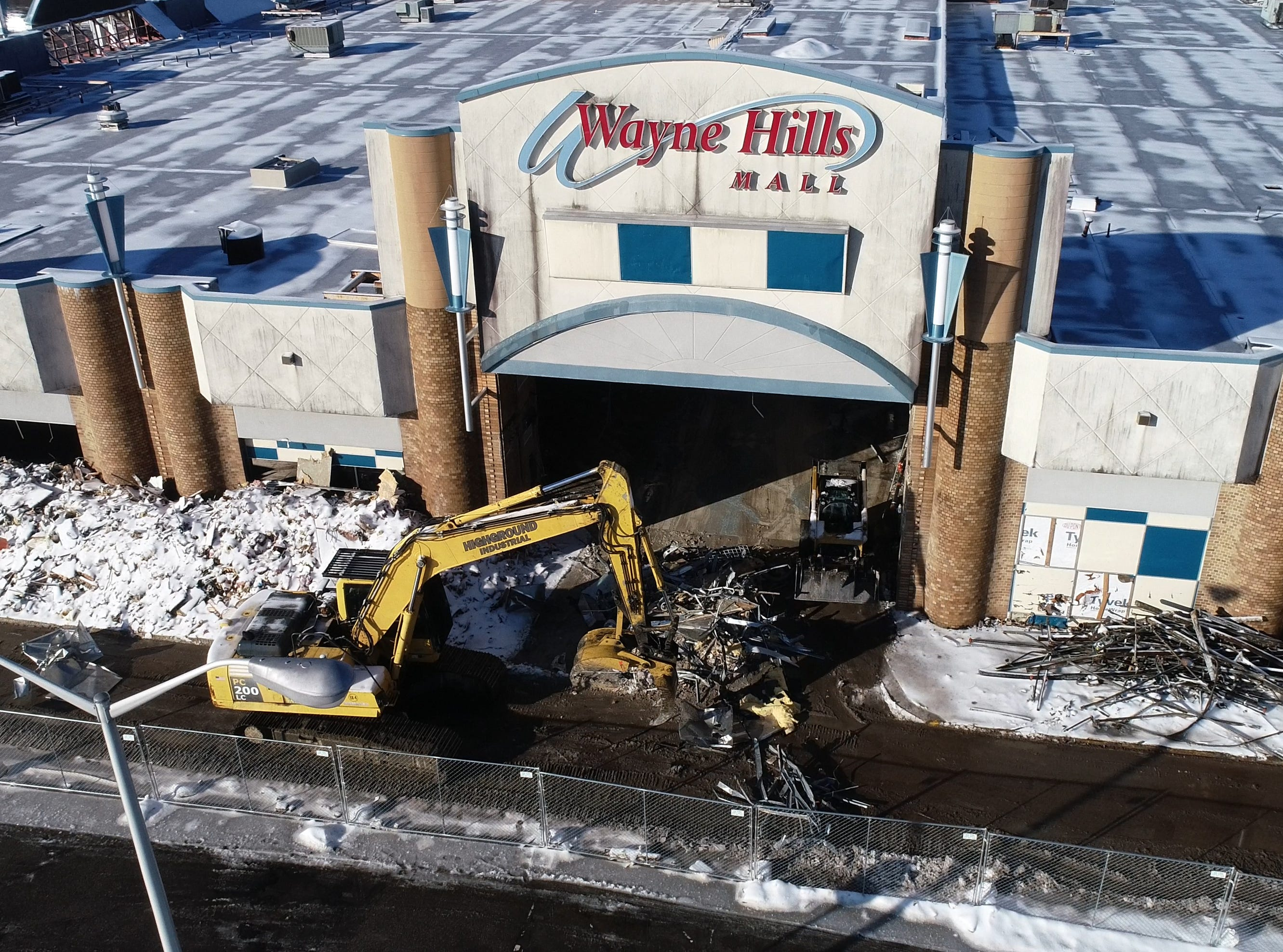Demolition of the Wayne Hills Mall in Wayne on Thursday February 21, 2019.