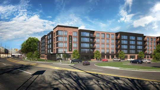 These renderings show what will eventually sit at the now-vacant property at 150 River Street, where The Record newspaper's headquarters once stood, in Hackensack.
