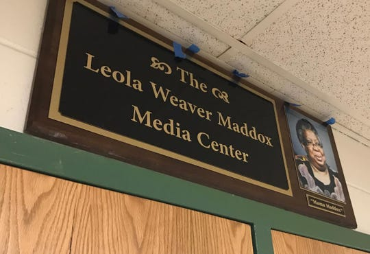 A sign in front of the Leola Weaver Maddox Media Center.