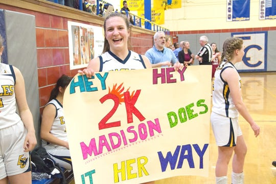 Eastern Christian senior Madison Wynbeek reached the 2,000-point plateau during the Lady Eagles' victory Feb. 14 at home in North Haledon.