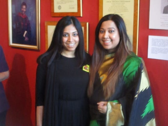 Nadia Hussein and Tania Chowdhury, co-founders of the Bangladeshi American Women's Development Initiative, at the Bangladeshi celebration held at the Paterson Museum.