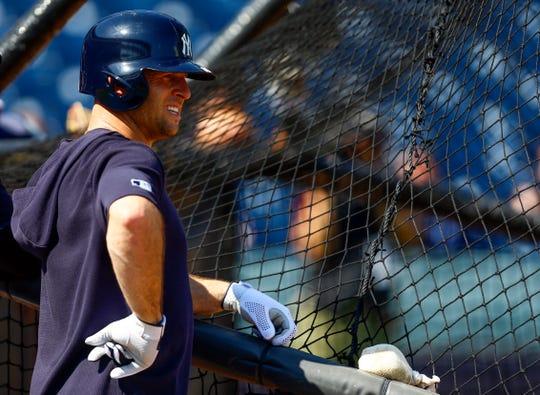 Feb 19, 2019; Tampa, FL, USA; New York Yankees left fielder Brett Gardner (11) gets ready for batting practice during spring training at George M. Steinbrenner Field.