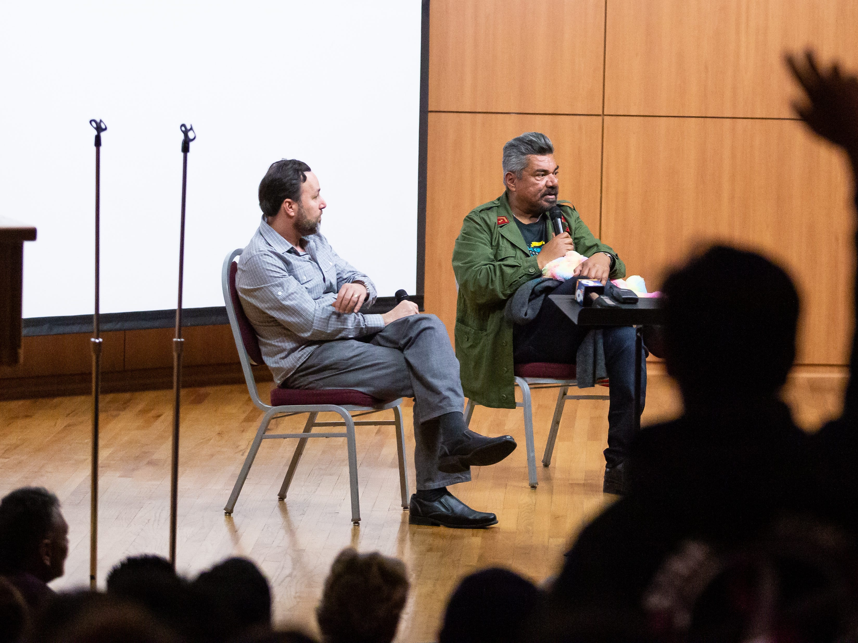 George Lopez, right, takes questions from the audience during a panel on his life and career Thursday, Feb. 21, 2019 at Corbett Center Student Union on the New Mexico State University campus. Las Cruces International Film Fest President Ross Marks appeared on stage with Lopez.