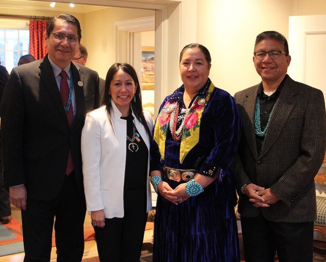 Lynn Trujillo, second from left, was confirmed on Wednesday as secretary for the New Mexico Indian Affairs Department. She met Navajo Nation President Jonathan Nez, Navajo Nation Council Delegate Amber Kanazbah Crotty and Vice President Myron Lizer on Feb. 1 in Santa Fe.