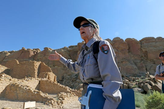 Dabney Ford, chief of cultural resources at Chaco, leads a hike through a portion of the park, Monday, June 29, 2015, at Chaco Culture National Historical Park in Nageezi, N.M.