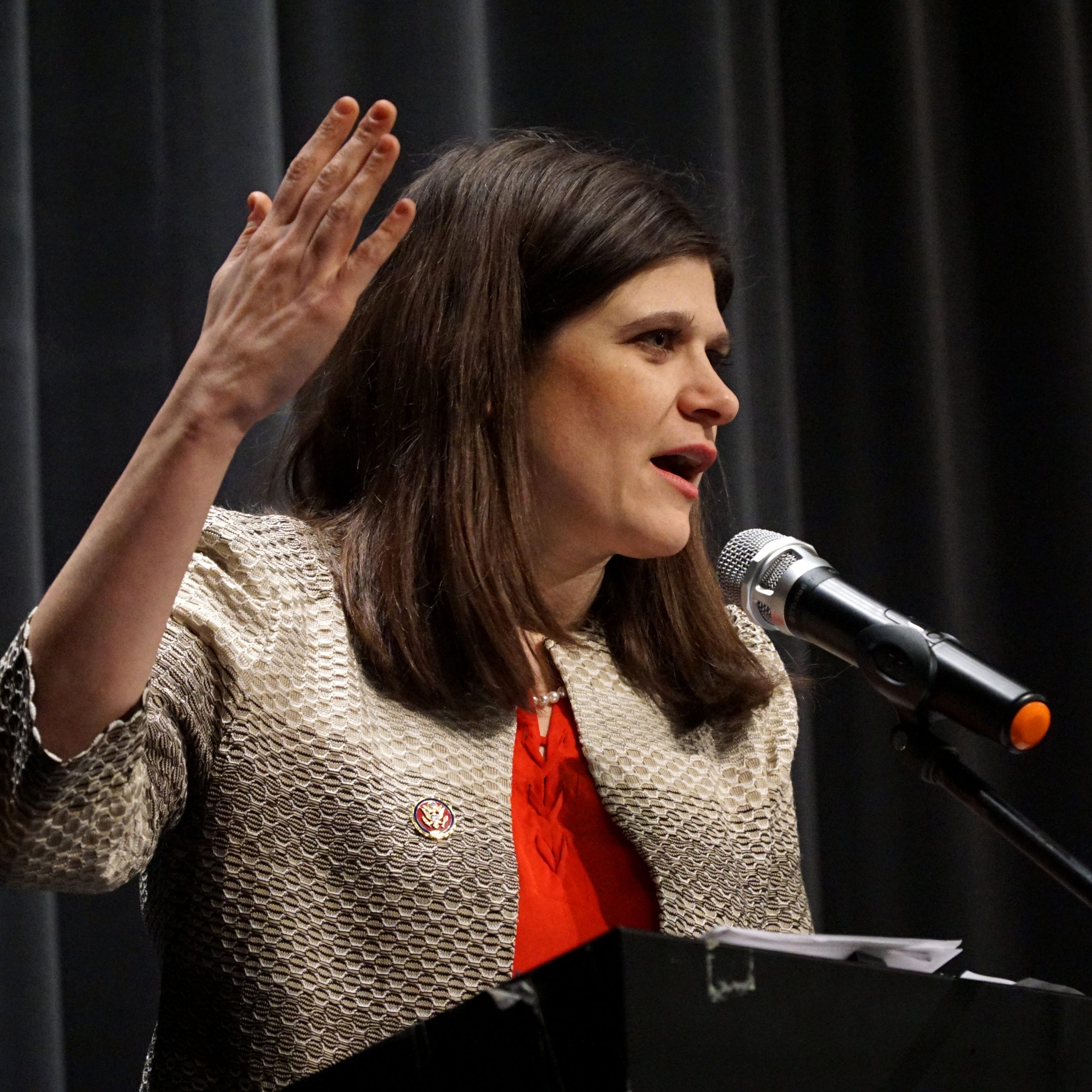 Rep. Haley Stevens at Milford town hall: 'We need to find a way to regrow the middle class'