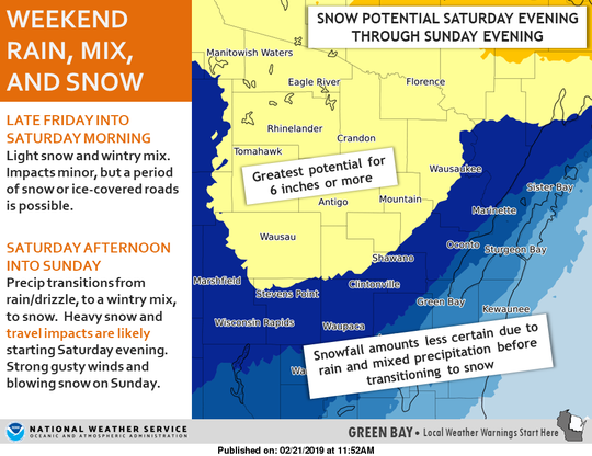 The weekend weather expected for Wisconsin includes rain, sleet and snow.
