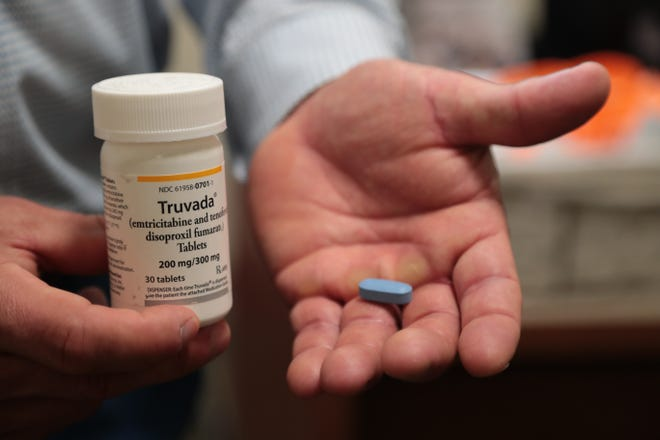 Truvada, one of the common drugs used to prevent HIV infection, is pictured in Palm Springs, California, Thursday, February 21, 2019.