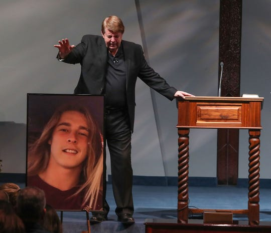 Pastor Fred Donaldson speaks during a celebration of ilfe ceremony for Jacob Montgomery a teenager who was one of four young people killed in Palm Springs, February 4, 2019.