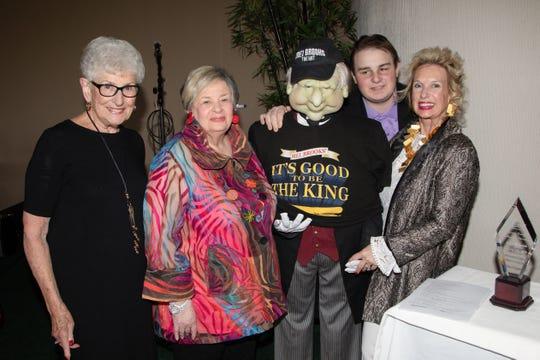 "Sharing a lighter moment, L-R, Ruth Moir, honoree Phyllis Eisenberg, ""Mel Brooks"", Leo Milmet  and committee chair/silver sponsor Sarah Milmet."