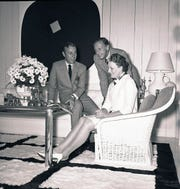 Inside the studio/offices of Arthur Elrod Associates at 850 N. Palm Canyon Drive, Palm Springs, shortly after it opened in 1968. Elrod, left, William Raiser and Mari Williams, wife of architect E. Stewart Williams. They are probably discussing plans for the then-new Palm Springs Art Museum, which Elrod and Raiser were consulting on.