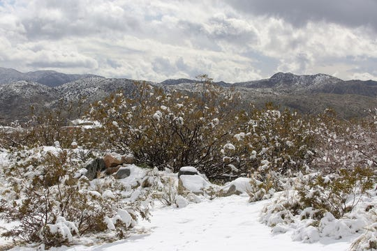Snow was visible in Morongo Valley and the surrounding mountains, February 21, 2019.