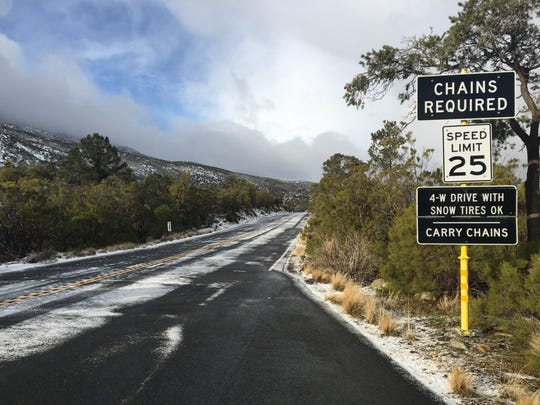This file photo shows Highway 74 following a snowstorm on Feb. 21 in the San Jacinto Mountains. The road reopened days later and is one of the only ways to Idyllwild.