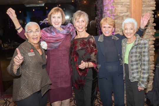 Dawn Rashid, Desert Guild president Susan Linsk, Dale Rotner, Jeanne Mace and Bobbie Kouri are celebrating the fun evening.