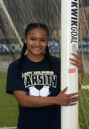 Gulf Breeze sophomore, Aila Swinton, is looking forward to leaving for the state girl's soccer final on Thursday, Feb. 21, 2019. Swinton missed the tournament last year she tore her ACL last in the season.