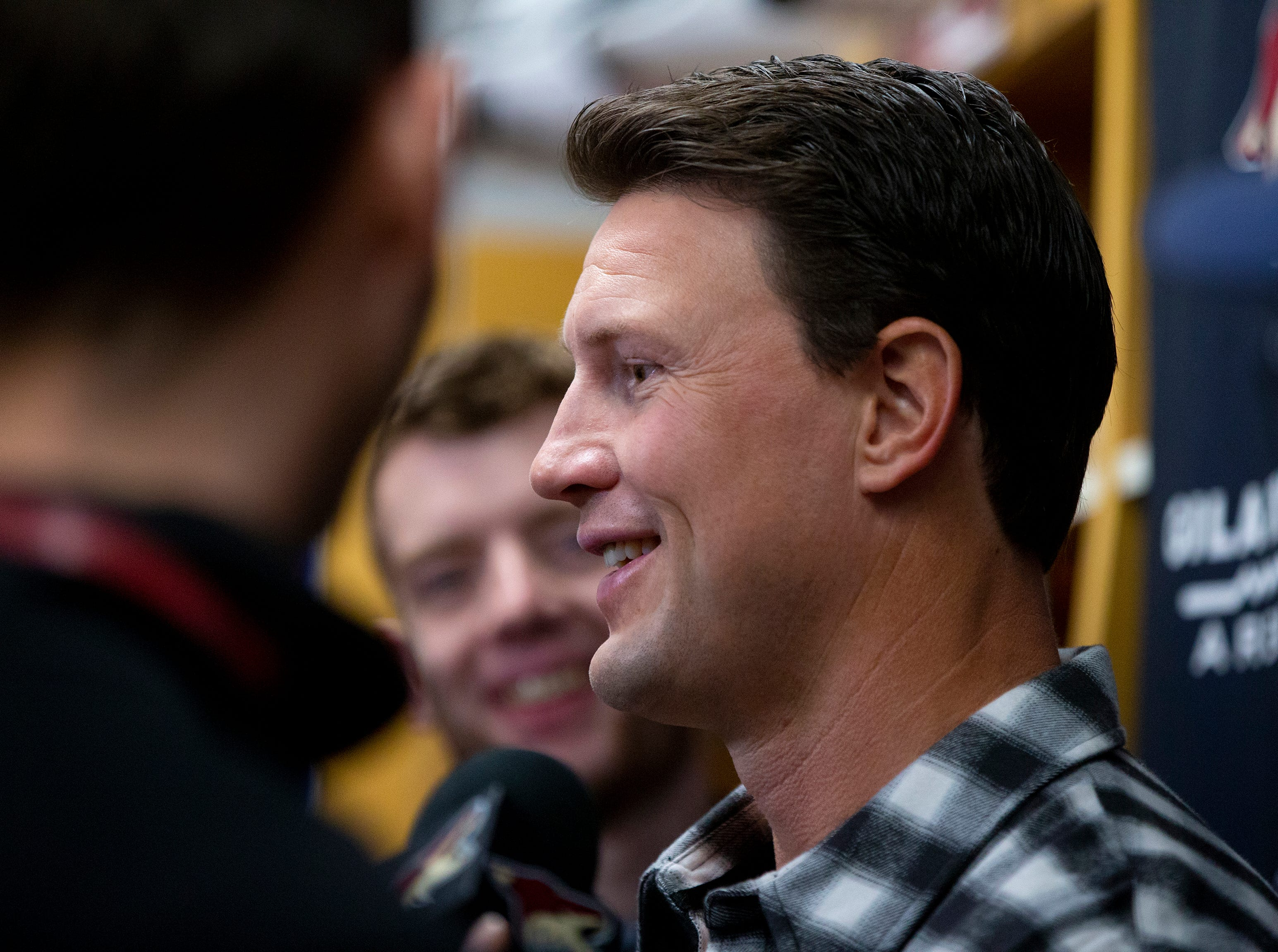 Ex-Coyotes captain Shane Doan talks to the press at IceDen Scottsdale ahead of his jersey retirement Sunday, February 24.