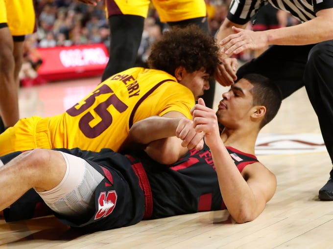 Arizona State forward Taeshon Cherry (35) stares down Stanford forward Jaiden Delaire (11) after fouling him during the first half in Tempe Feb. 20, 2019.
