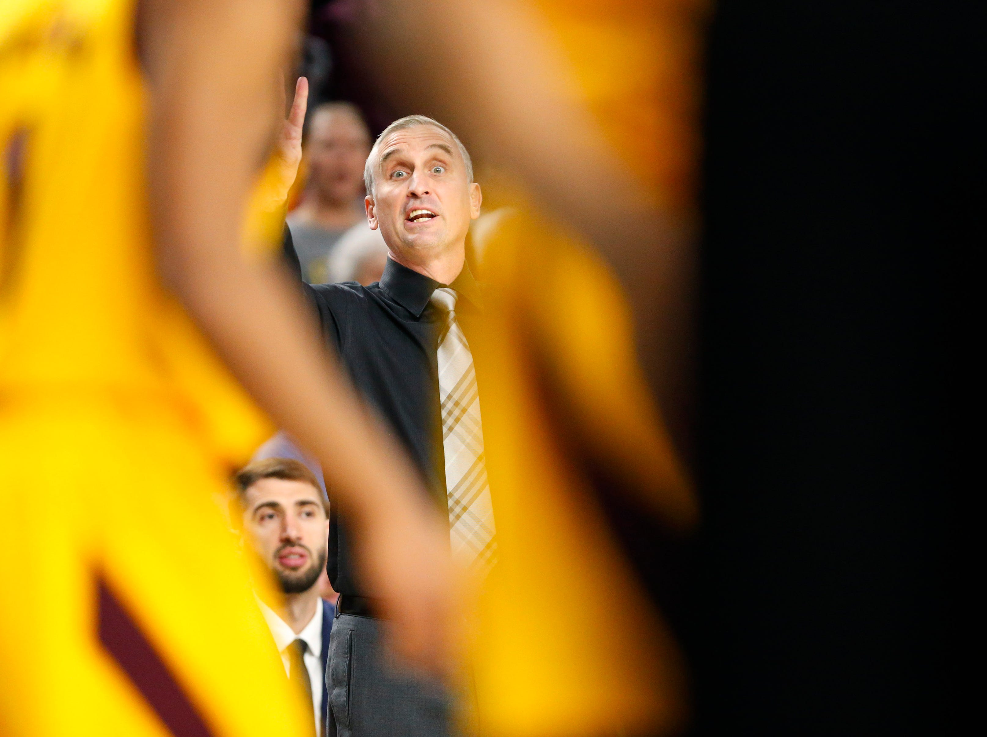 Arizona State head coach Bobby Hurley directs his team against Stanford during the first half in Tempe Feb. 20, 2019.