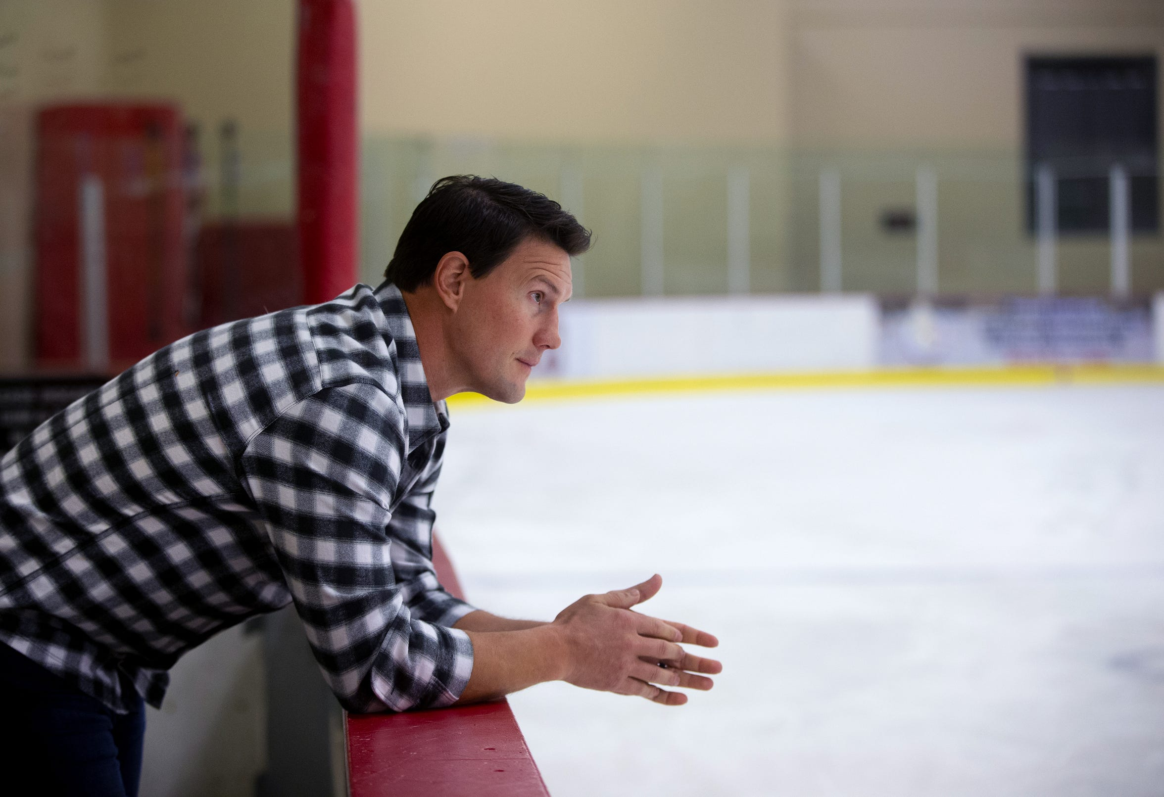 Shane Doan looks at an ice rink named after him at the Ice Den in Scottsdale.