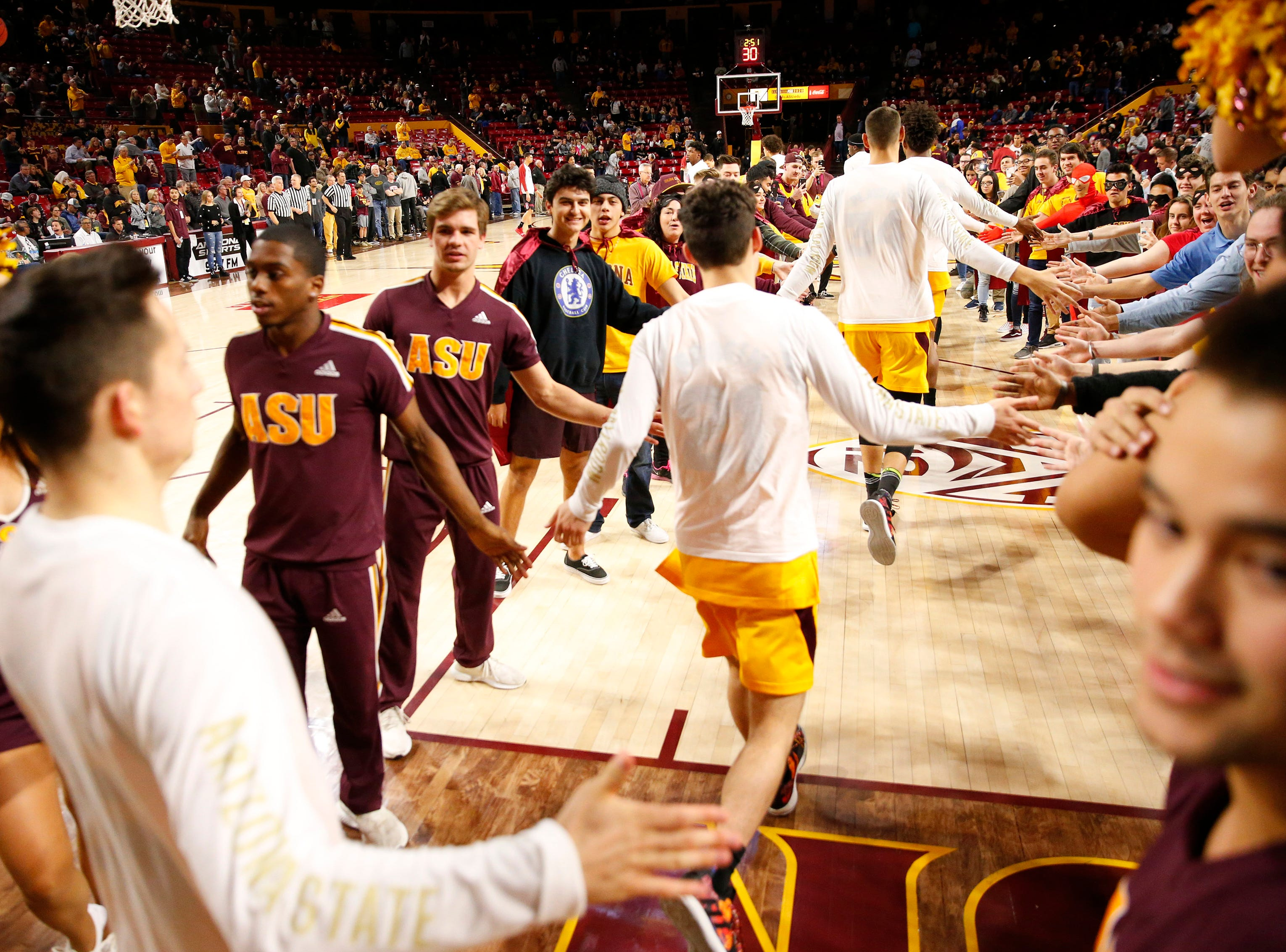 Arizona State players enter the court before playing against Stanford in Tempe Feb. 20, 2019.
