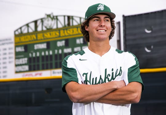 Horizon High School baseball player Kody Huff  poses during picture day at the school, Monday, February 18, 2019.