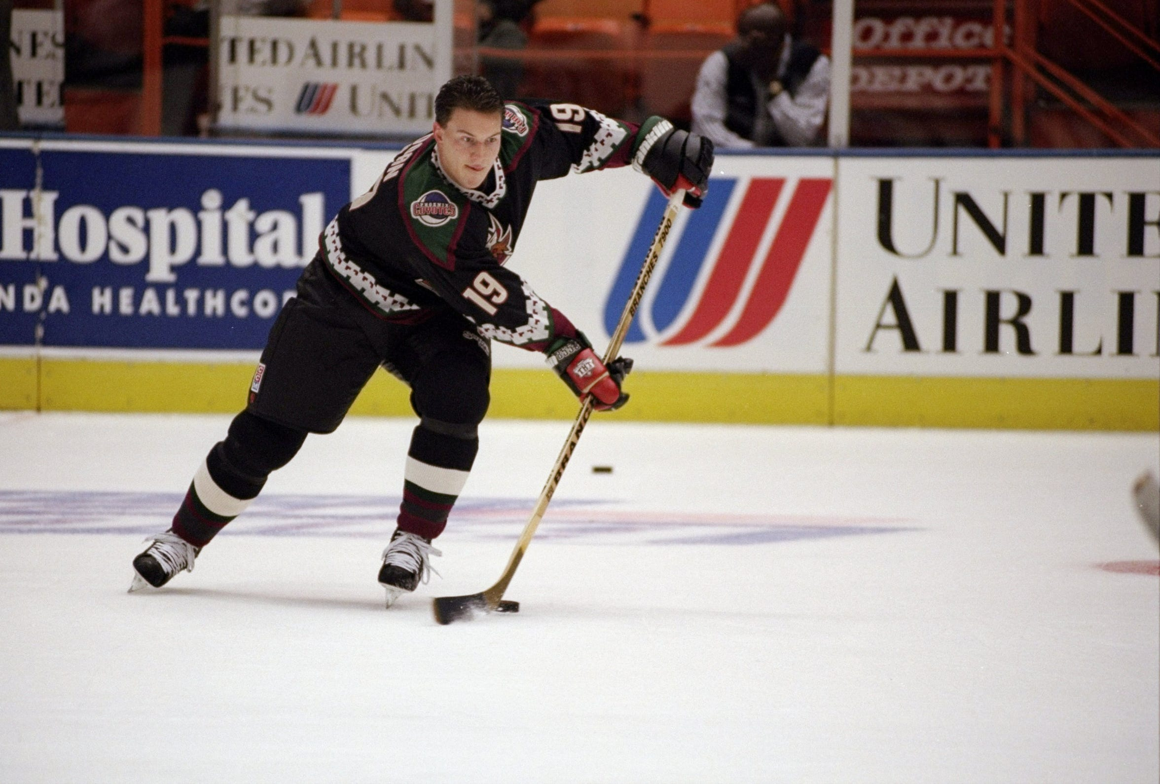Shane Doan moves the puck before a game against the Kings in 1996.