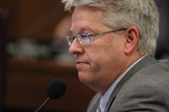 State Sen. Eddie Farnsworth at a Senate Transportation and Public Safety Committee hearing.