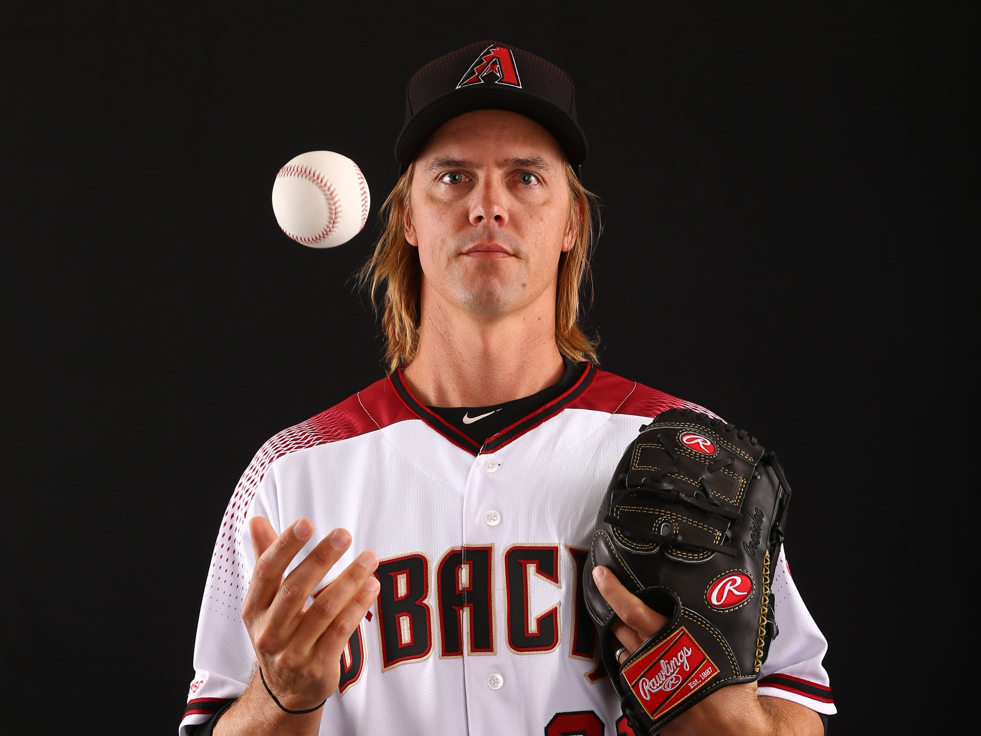 Zack Greinke of the Arizona Diamondbacks poses for a photo during the annual Spring Training Photo Day on Feb. 20 at Salt River Fields in Scottsdale, Ariz.