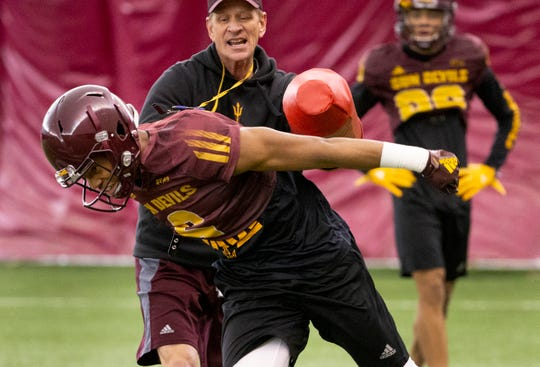 Wide receiver Geordon Porter runs a drill during ASU spring football practice in the Verde Dickey Dome in Tempe on February 21.