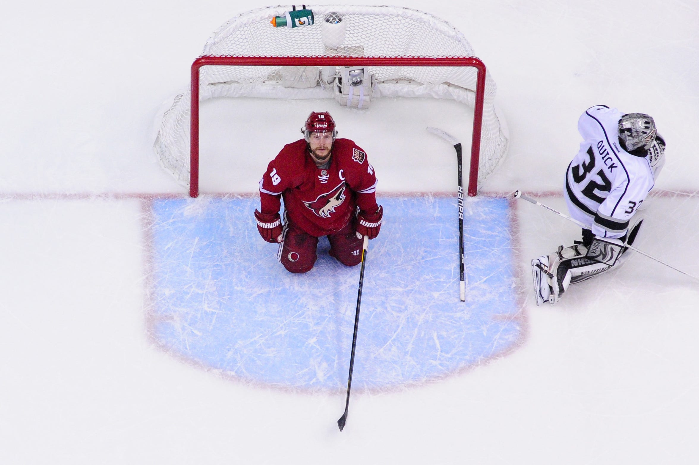 Shane Doan looks on after crashing into Kings goalie Jonathan Quick in the Western Conference finals in 2012.