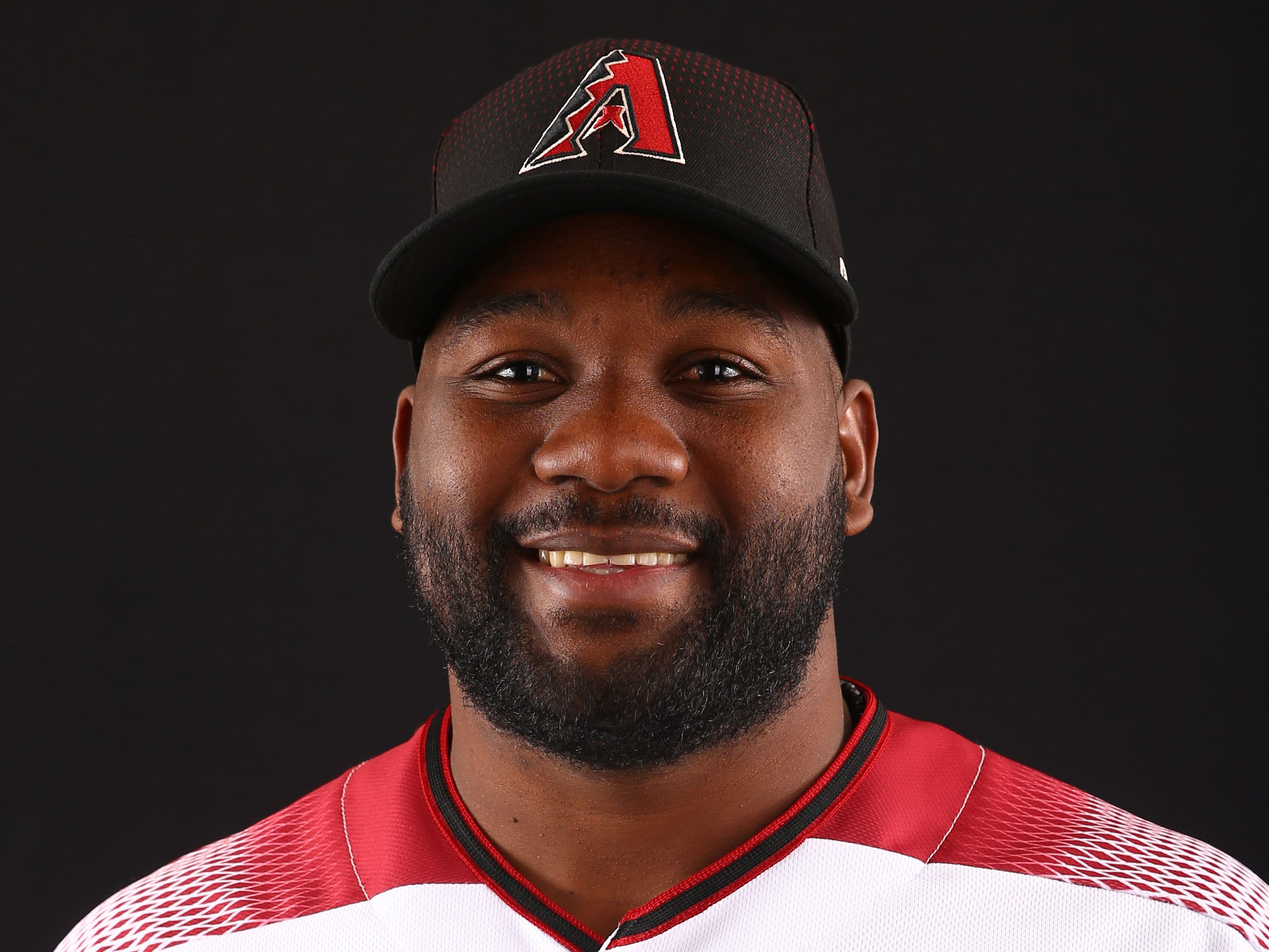 Abraham Almonte of the Arizona Diamondbacks poses for a photo during the annual Spring Training Photo Day on Feb. 20 at Salt River Fields in Scottsdale, Ariz.