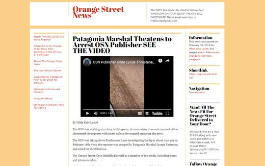 A screenshot shows the Orange Street News website, of which HildeLysiak is areporter and publisher. She has received national attention for her reporting.