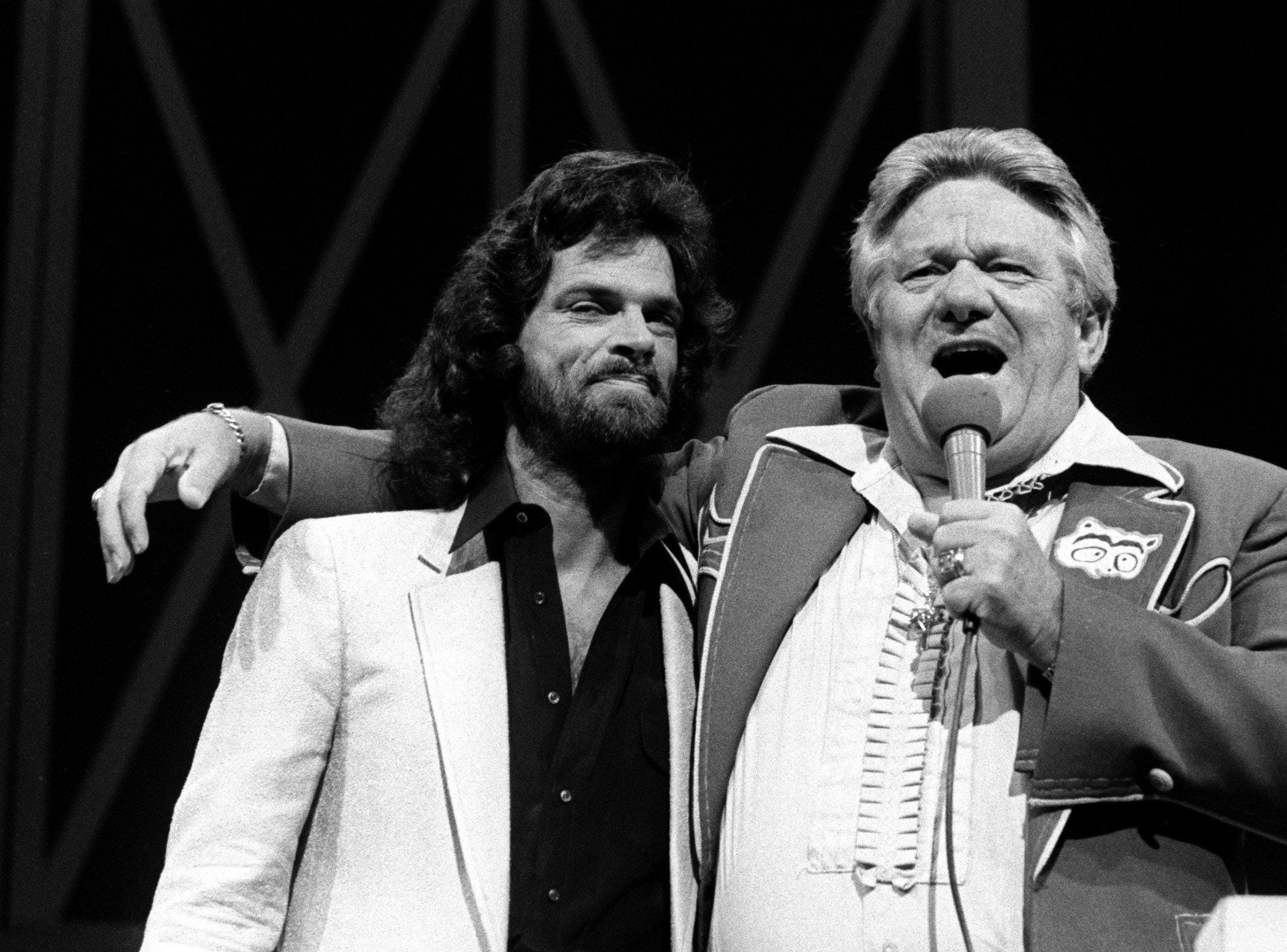 B.J. Thomas and Jerry Clower 1---B.J. Thomas makes his debut as the newest member of the Grand Ole Opry on Aug. 7, 1981. He was introduced by country humorist Jerry Clower.
