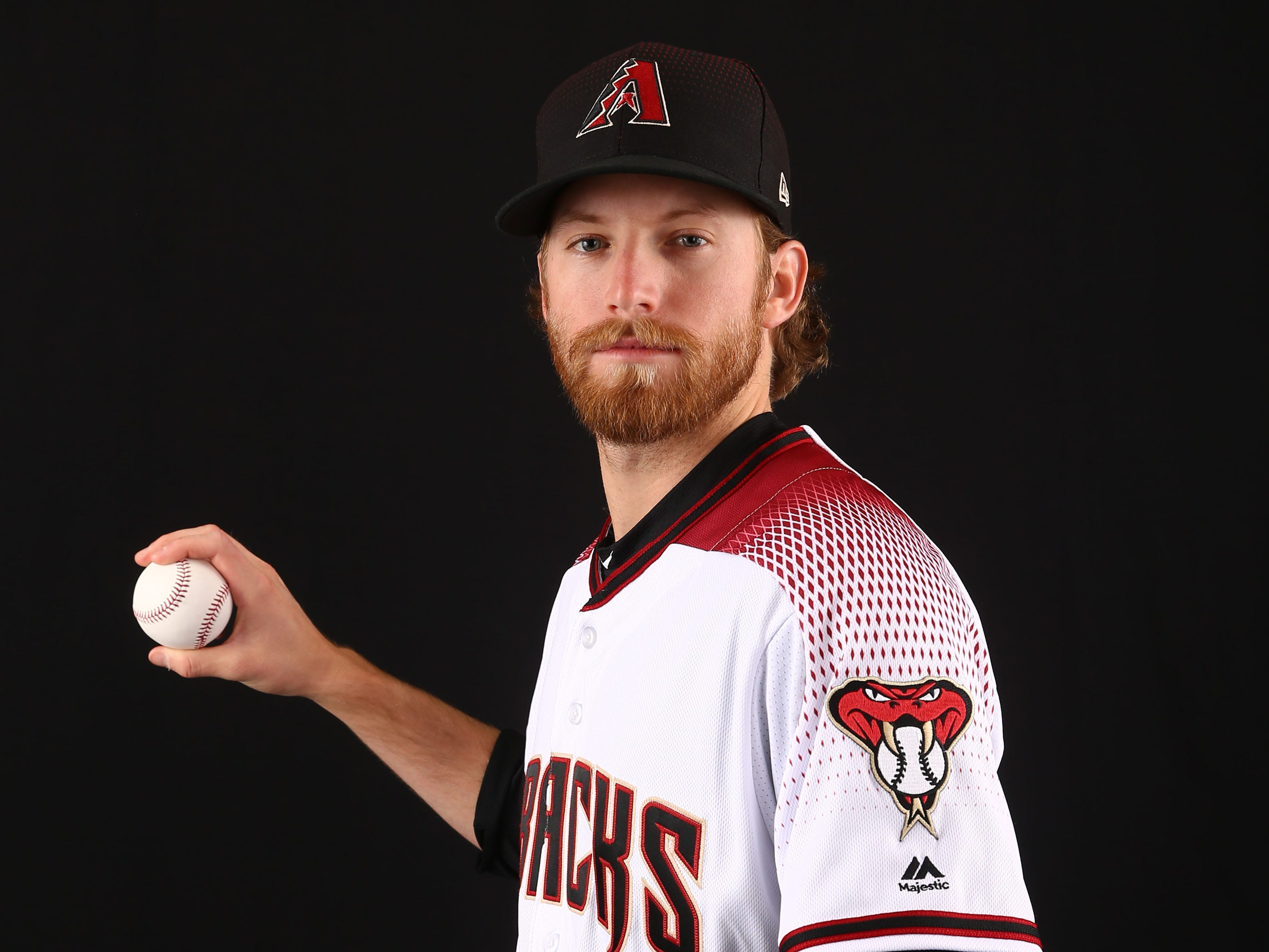 Jimmie Sherfy of the Arizona Diamondbacks poses for a photo during the annual Spring Training Photo Day on Feb. 20 at Salt River Fields in Scottsdale, Ariz.