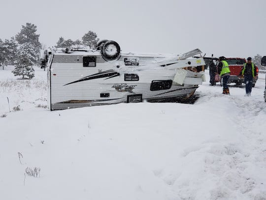 Trailer flipped on Interstate 40 near Flagstaff on Feb. 21, 2019.
