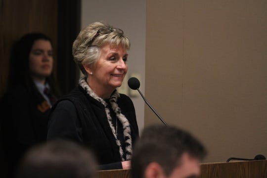 State Sen. Kate Brophy McGee speaks in front of the Senate Transportation and Public Safety Committee.