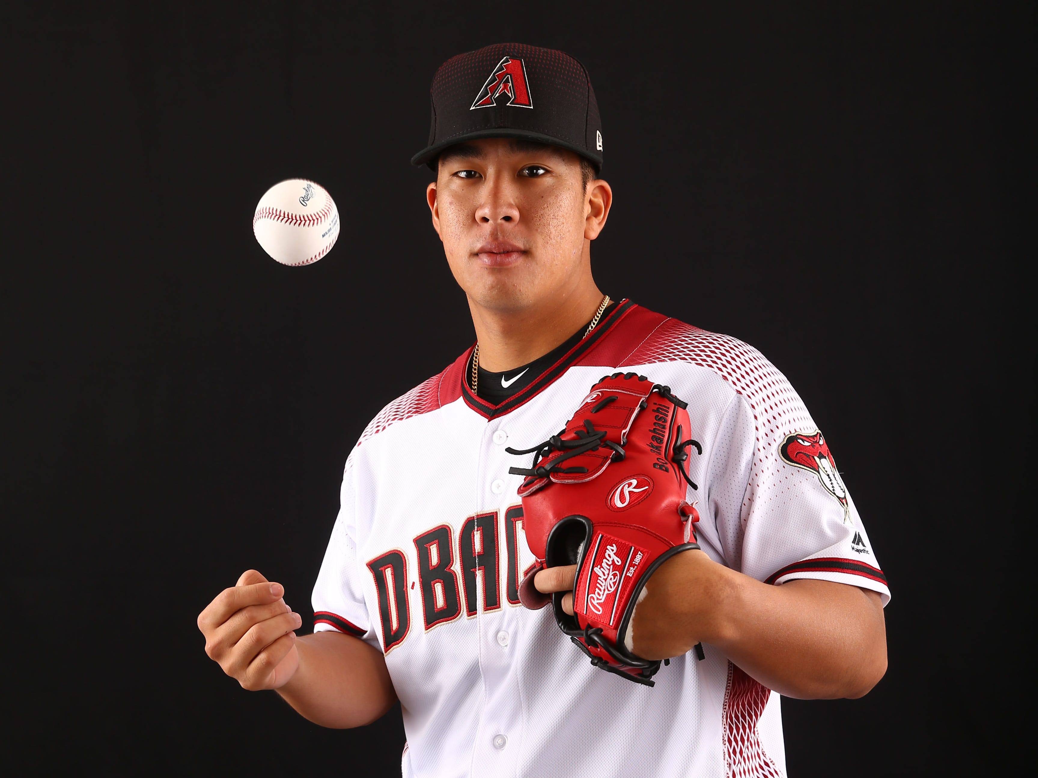 Bo Takahashi of the Arizona Diamondbacks poses for a photo during the annual Spring Training Photo Day on Feb. 20 at Salt River Fields in Scottsdale, Ariz.