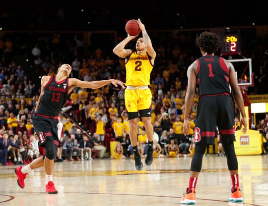 Arizona State guard Rob Edwards (2) shoots a three-point shot while defended by Stanford forward Oscar da Silva (13) during the second half in Tempe Feb. 20, 2019.
