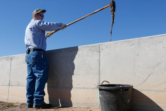 """Makeup wipes, baby wipes and, yes, even flushable wipes are all common items that clog equipment at the Surprise South Water Reclamation Facility in Arizona. Andrew Johnson removes what is called a """"rag ball""""  of items that workers have to remove."""