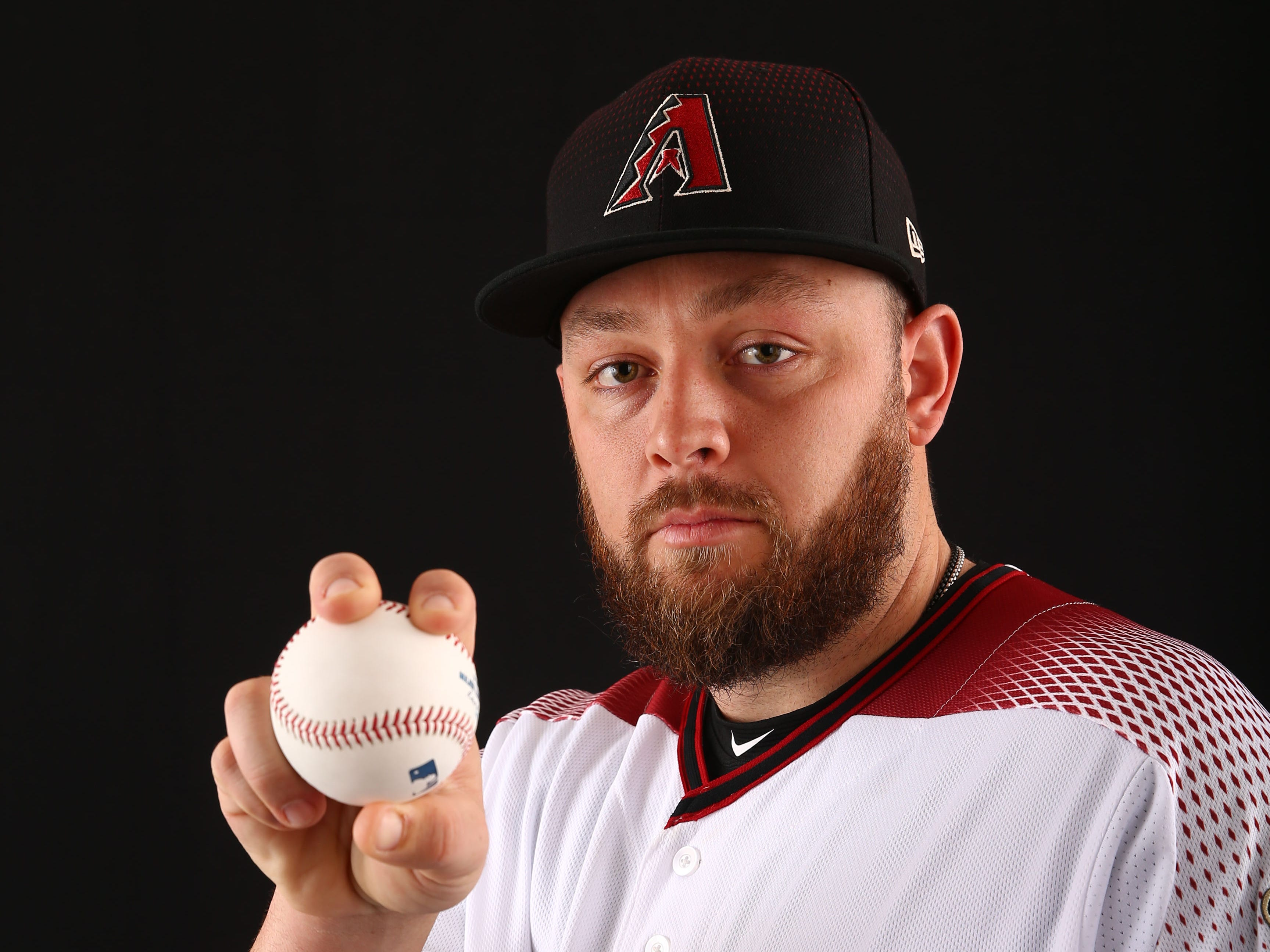 Joey Krehbiel of the Arizona Diamondbacks poses for a photo during the annual Spring Training Photo Day on Feb. 20 at Salt River Fields in Scottsdale, Ariz.