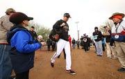 Arizona Diamondbacks first baseman Jake Lamb arrives for spring-training workouts on Feb. 18, 2019, at Salt River Fields in Scottsdale.