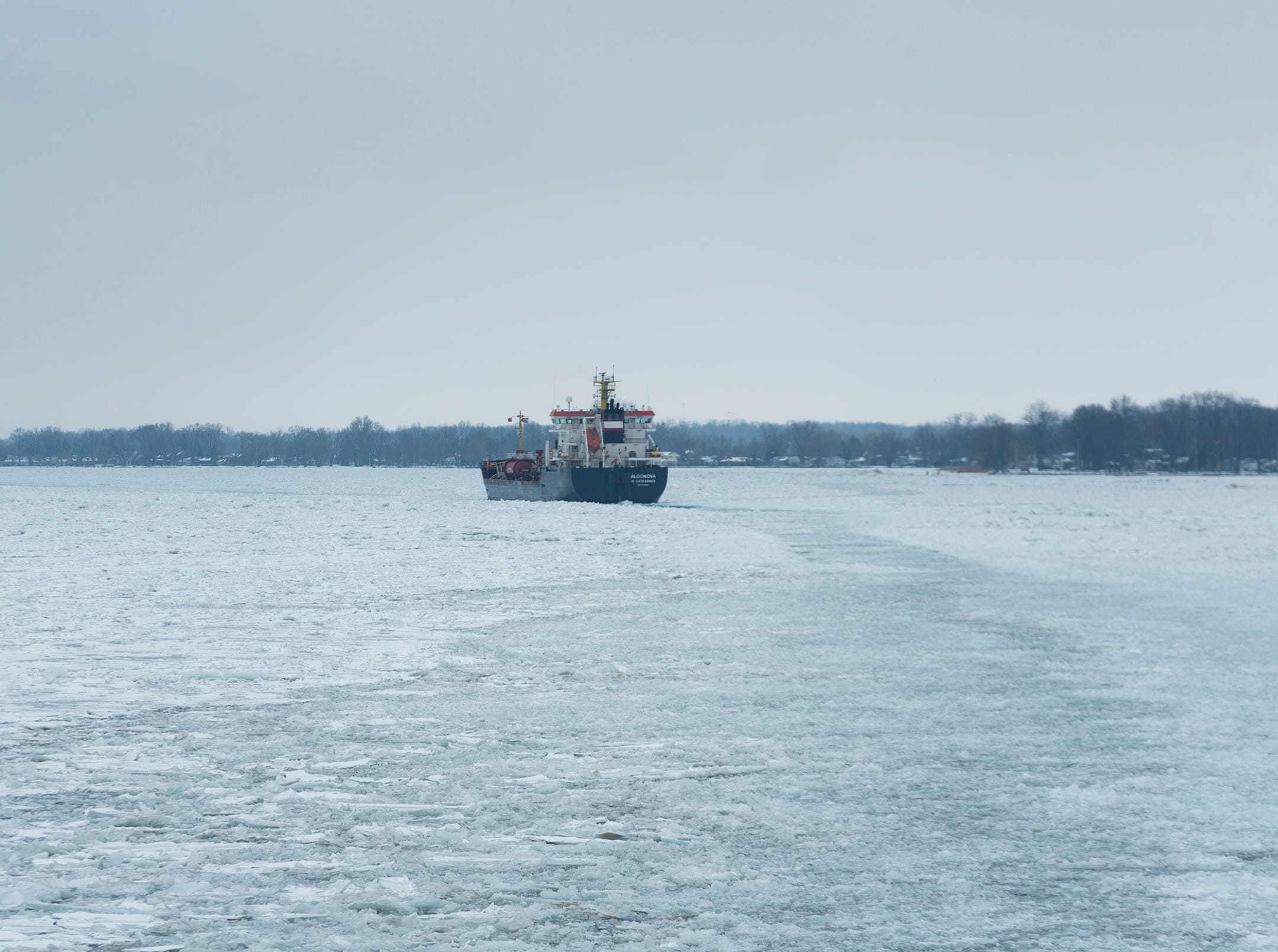 The USCGC Hollyhock follows the Algonova upbound on the St. Clair River Wednesday, Feb. 20, 2019, near Algonac. The Hollyhock, together with the USCGC Bristol Bay, escorted the nearly 430-foot freighter through an ice jam that had formed near Algonac.