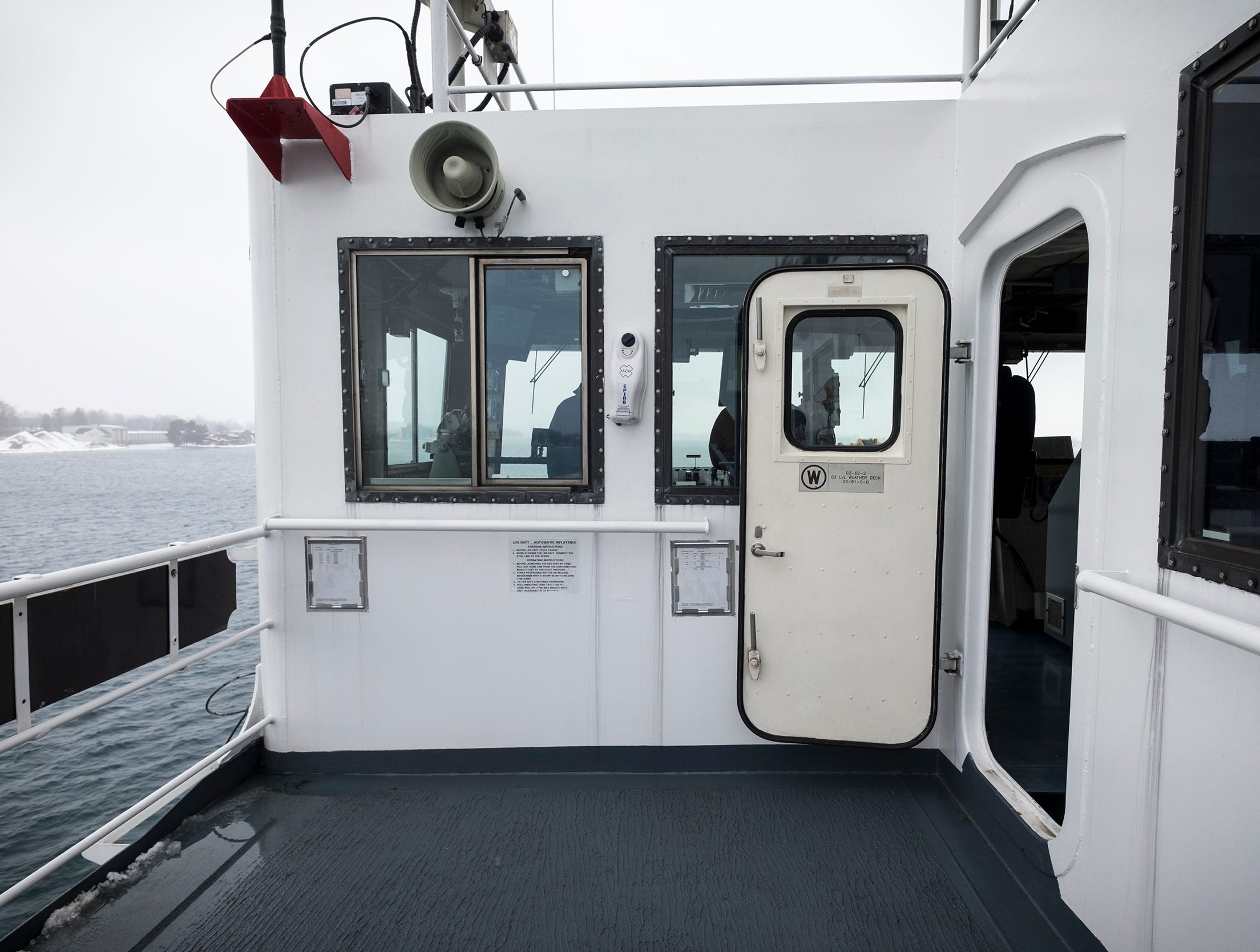 During periods of limited visibility, in addition to turning on navigation lights and stationing additional lookouts, the crew will open the doors to the bridge. This helps the crew to hear sounds in the fog.
