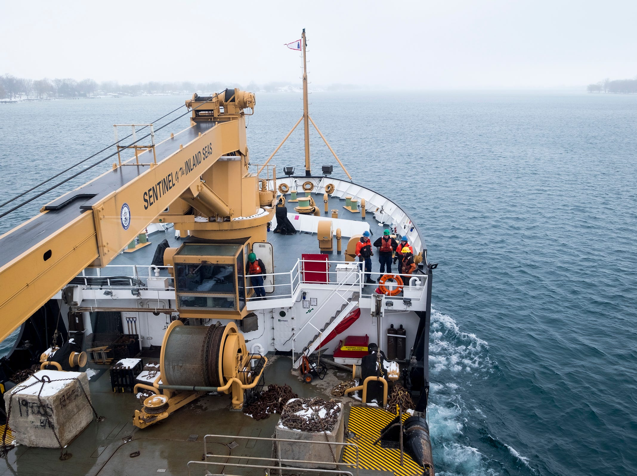 As the Hollyhock resumes travel after anchoring for maintenance, rain and fog moved into the area, limiting the crew's visibilty.