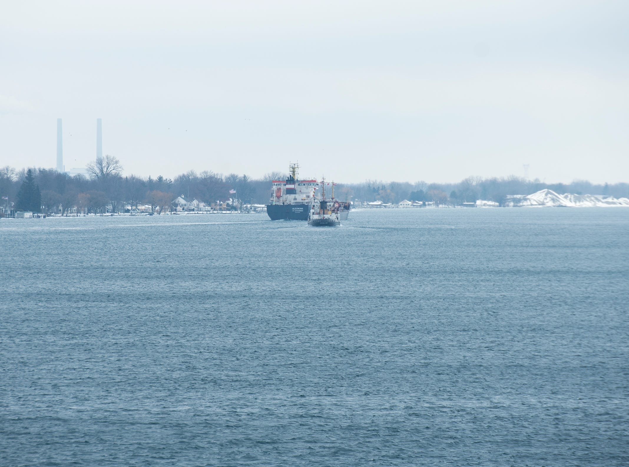 After clearing the ice, the Algonova passes the USCGC Bristol Bay and continues its journey north to Sarnia. With the Algonova having cleared the ice without incident, the Hollyhock stayed behind and dropped its anchor for maintenance.